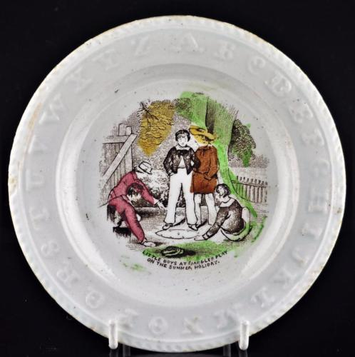 ANTIQUE CHILD'S ABC ALPHABET PLATE-BOYS PLAYING MARBLES-ELSMORE & SON- C1880