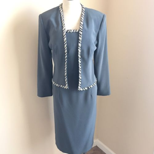Jovani Dress Size 10 Strapless Beaded Trim Gray Mother of the Bride Jacket Set