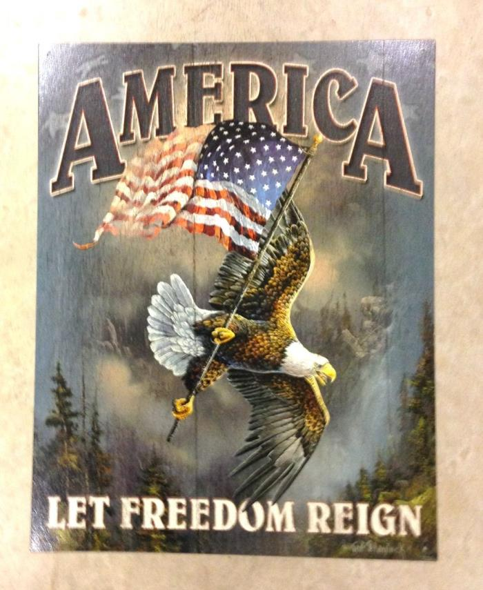 Sign America Let Freedom Reign USA Flag Eagle Metal New 12 1/2x16 inch
