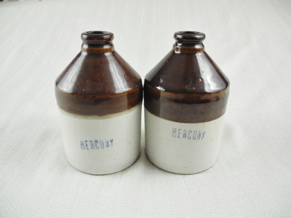 2 Vintage Stoneware Mercury Brown & Cream Jug, Bottle 6in Tall & 12in Wide