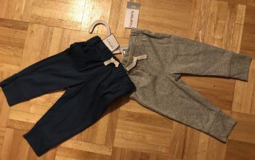 Carter's baby boy basic blue heather gray cotton rib pants 2pc set 12M 12 Months