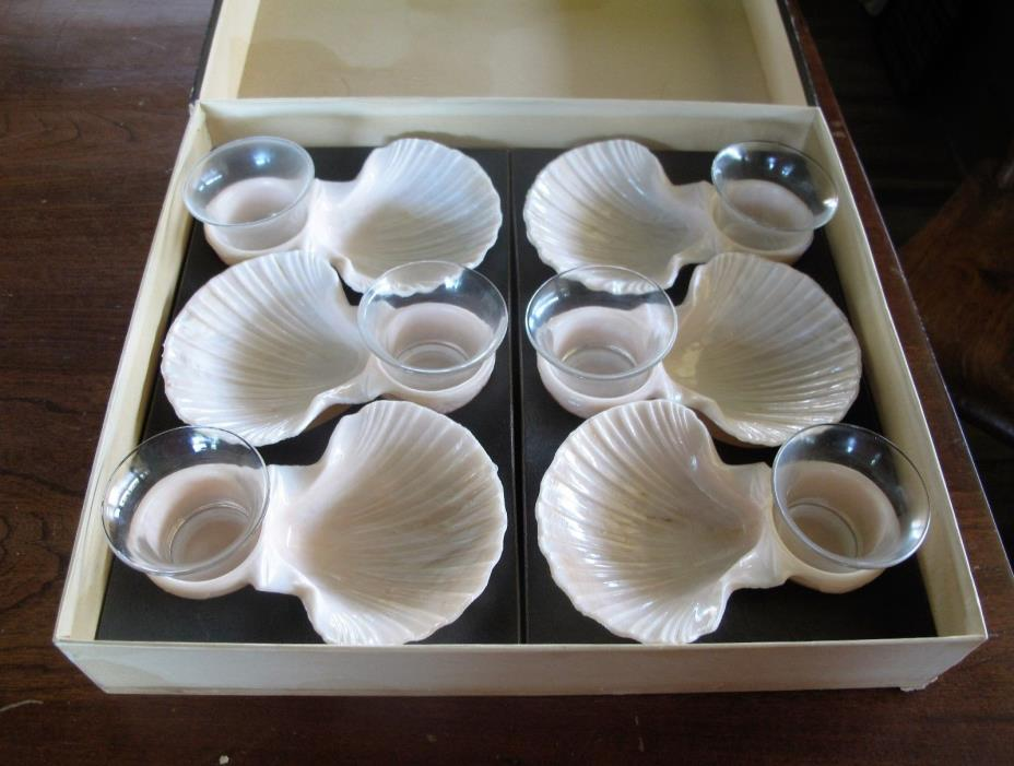 VTG Cocktails For Six Sea Servers by Karoff Sea Shell Dishes Federal Glass Retro