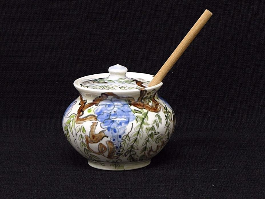 Artisan Crafted Hand Painted Honey Pot With Wood Honey Dipper Wisteria Design