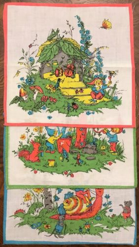 Vintage Gnomes Playing Children's Handkerchief Hankies Lot of 3 Vibrant Colors