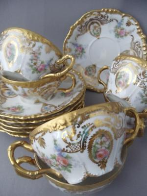 ANTIQUE LIMOGES JEAN POUYAT HAND PAINTED PINK ROSE GOLD BOUILLON CUP SAUCER SET