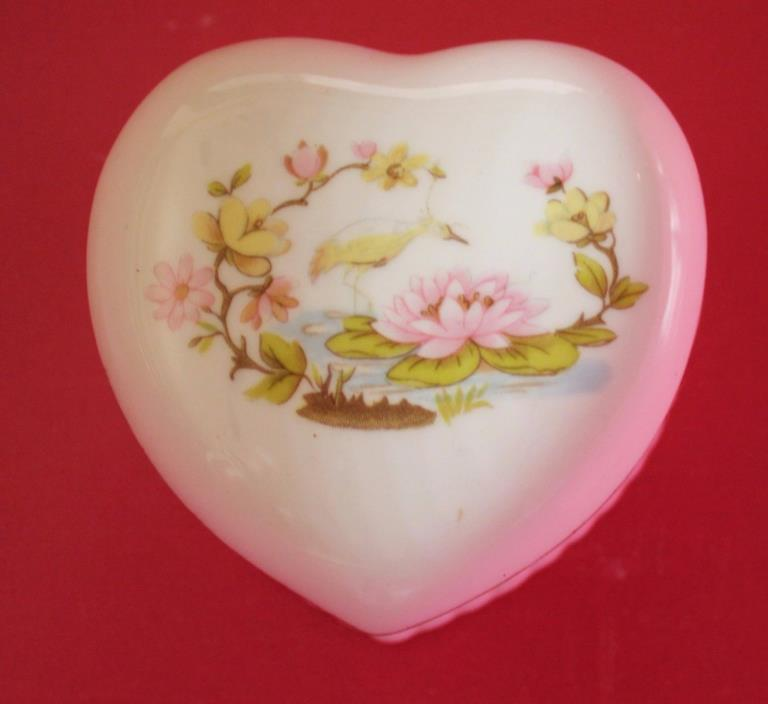 Vintage - Genuine Bone China Heart Shaped Trinket Box