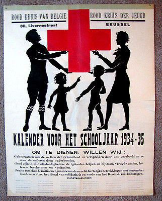 Original WWII War Era Belgian 4 Pg. Calendar, Kalender Voor Het Schooljaar 1934