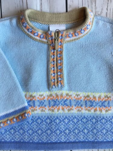 Hanna Andersson sweater size 60 6 9 months Blue Baby Boys Pullover Half Zip