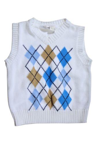 Koala Kids White Brown Blue Sweater Vest Size 2T