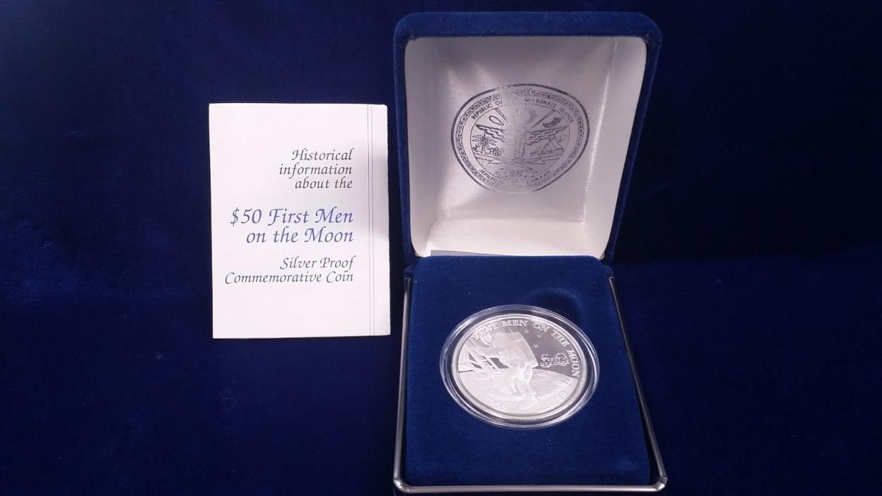 1989 $50 Marshall Islands Silver Coin **FIRST MEN ON THE MOON** w/BOX and COA