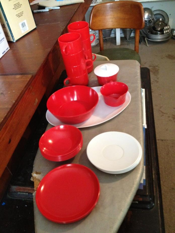 lot of red/white plastic cups, plates, bowls, creamer, sugar bowl, platter
