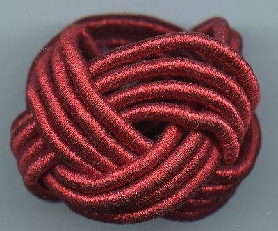NAPKIN RINGS BRAIDED CORD RED METALLIC KEMP & BEATLEY