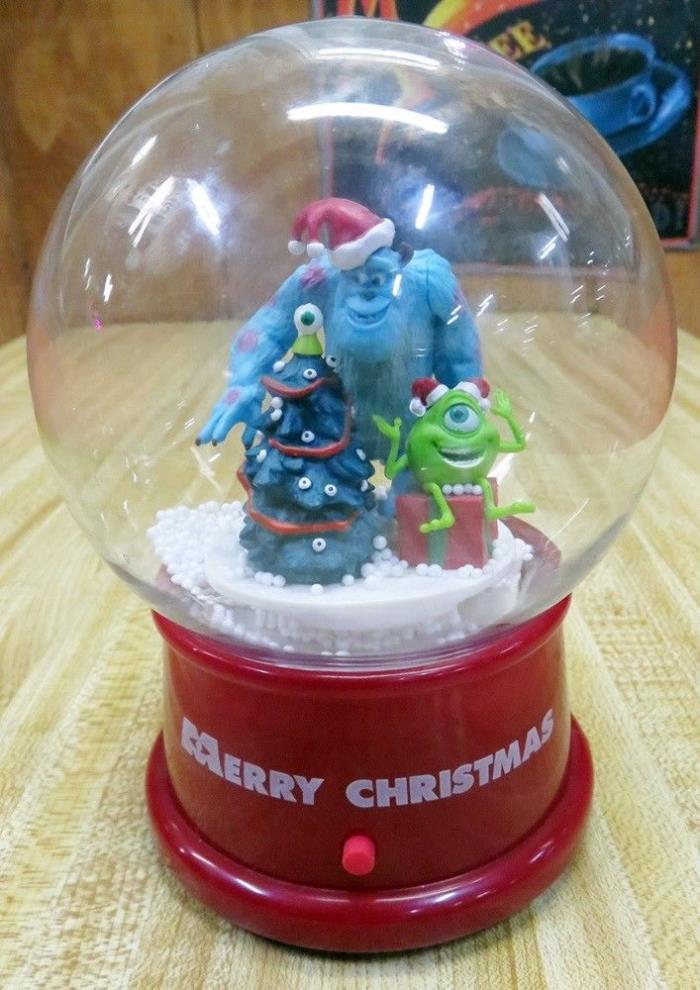 Monsters Inc Christmas Musical Waterless Blizzard Globe Plays 10 Tunes