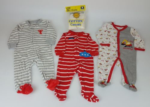3-6 month Baby Boys Footed Sleeper Pajama Lot of 3, & 6 pk New Long White Socks
