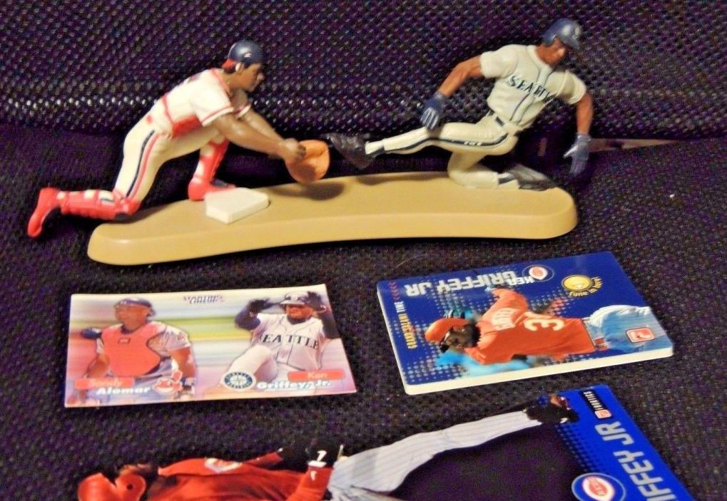 Baseball lot Ken Griffey Jr Sandy Alomar card & Plastic players display MVPA 99