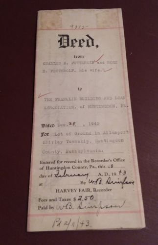 Antique Huntingdon PA Deed Fetterolf & Rose, Shirley Twp