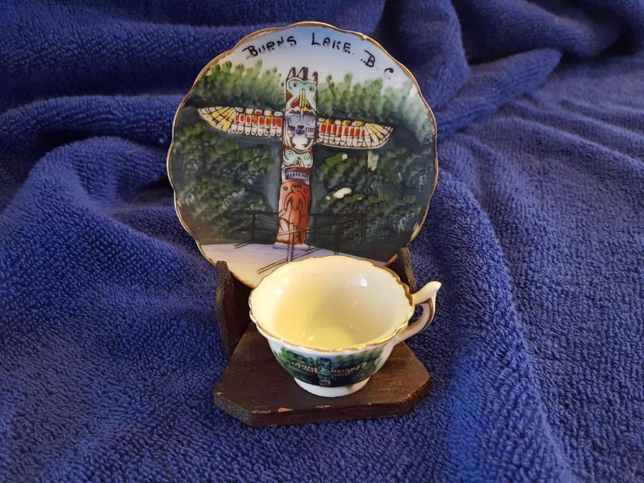Vintage Mini Tea Cup & Saucer Totem Pole Burns Lake B.C. Japan