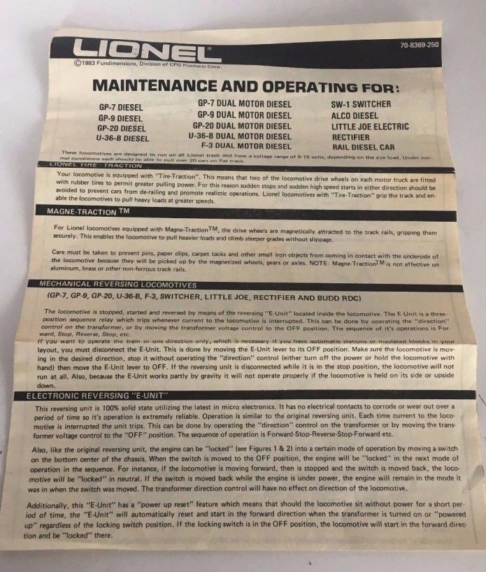 Lionel Maintenance and Operating Manual