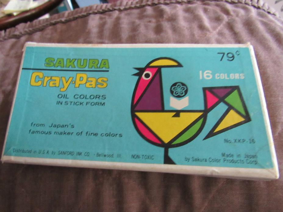 16 Vintage Sakura Cray-pas Oil Pastel Color Crayons, Art Supplies, Made in Japan