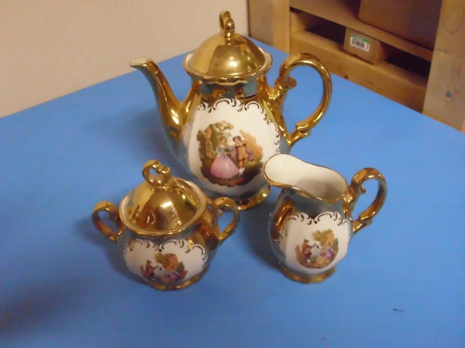 VINTAGE 3 PIECE SET TEAPOT CREAMER + SUGAR BOWL MADE IN ITALY