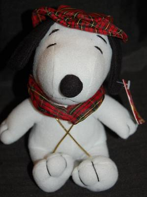 Whitman's Snoopy Peanuts Tag Plaid Hat Collar  Stuffed Animal Lovey