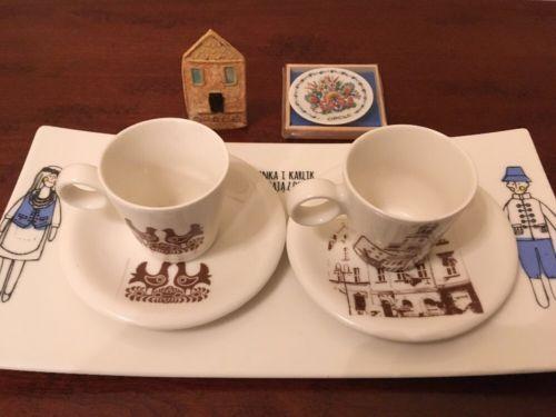 Opole Polish Pottery Folk Art Cups, Saucers, Tray, & Trinkets Gift Basket