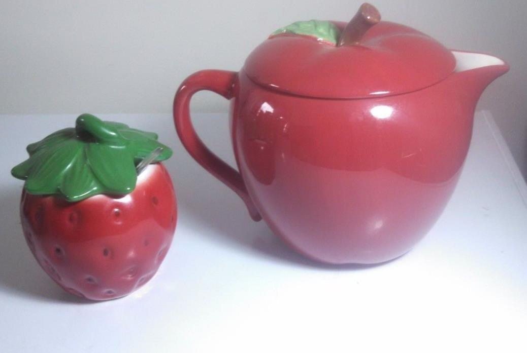APPLE TEA KETTLE TEAPOT RED  WITH STRAWBERRY SUGAR BOWL