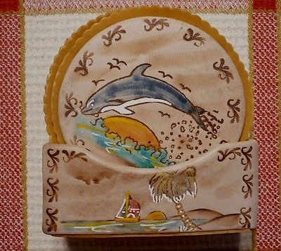 Set of (6) hand-painted COASTERS w/ ARUBA SCENES & container.Vibrant colors. Exc