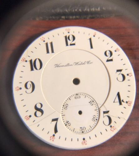 ANTIQUE HAMILTON 16s PORCELAIN POCKET WATCH DIAL PARTS 42mm LEVER SET