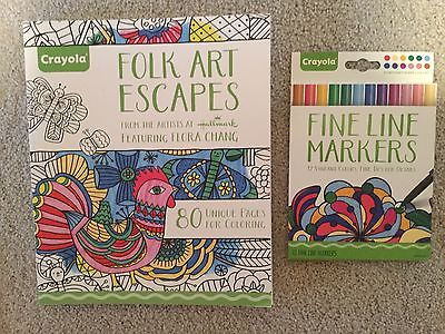 LOT 2 ADULT COLORING BOOK CRAYOLA FOLK ART ESCAPES AND 12 CT FINE LINE MARKERS