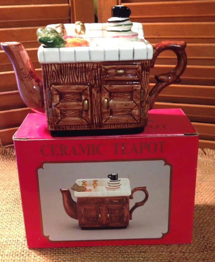 Ceramic Tea Pot Antique Kitchen Sink Dirty Dishes and All Original Box Nos