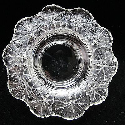 Vtg Signed Lalique Honfleur Geranium Crystal Dish France 5 3/4