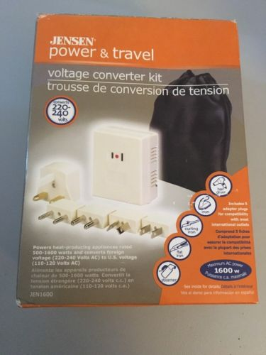 JENSEN POWER & TRAVEL VOLTAGE CONVERTER KIT CONVERTS 220V-240V 110-120V JEN1600