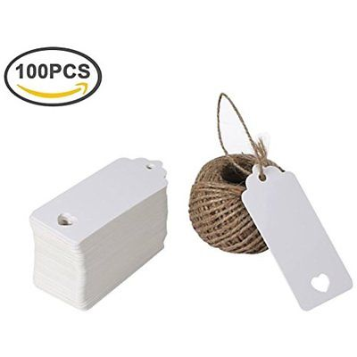 Gift Wrap Tags 100PCS Love Heart With String, Cute Adorable Kraft Paper Blank