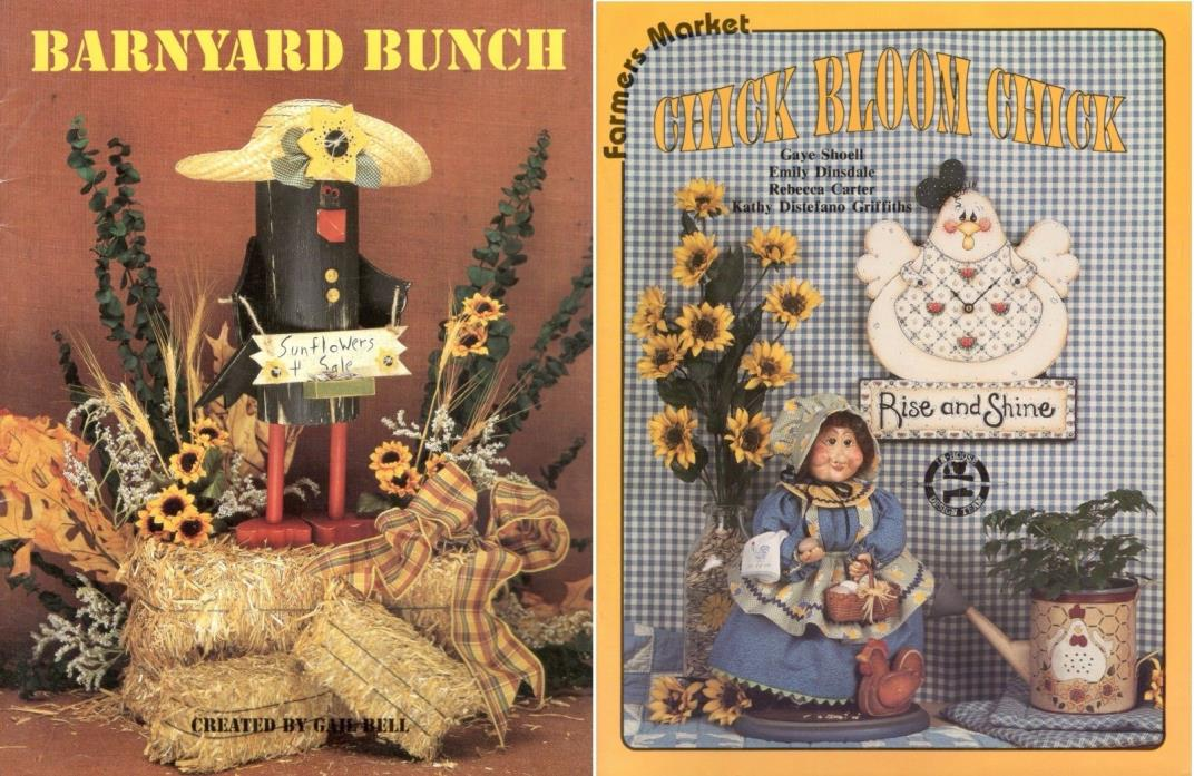 Barnyard Bunch/Chick Bloom Chick~Tole Decorative Painting 2 Book Lot