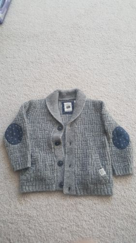 Pre owned Zara Baby Shawl neck Knitted Cotton Sweater Cardigan White 2-3 years
