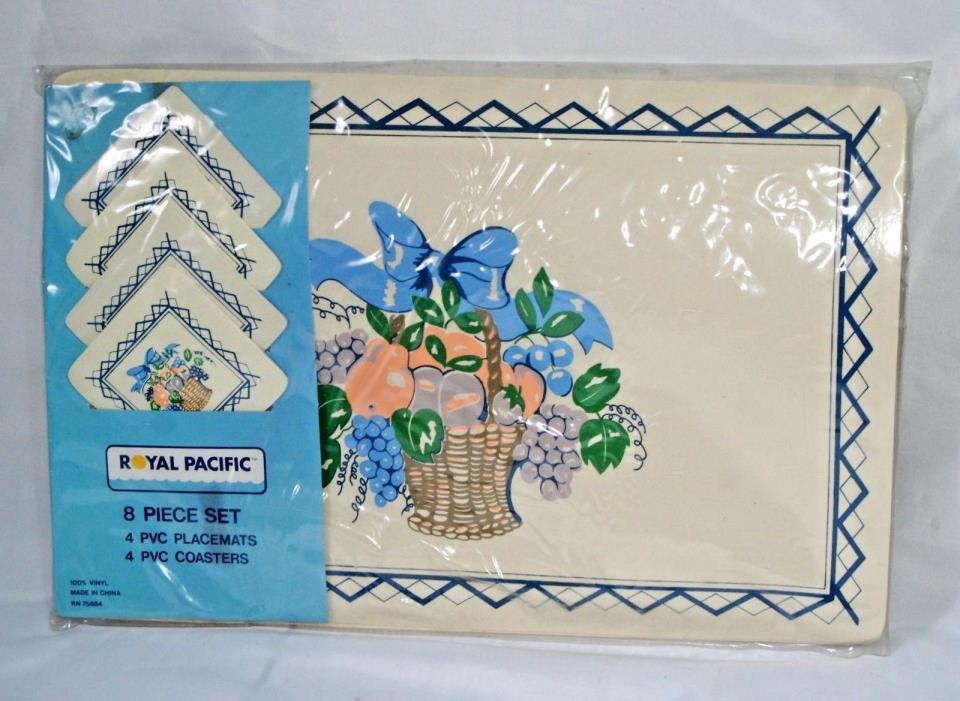 Vintage Vinyl Foam Place Mats and Coasters Set 8 Fruit Basket Ribbon Light Blue