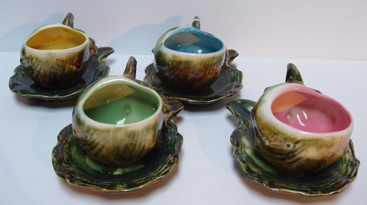 Four Vintage Majolica like Ceramic Seashell Cups and Saucers