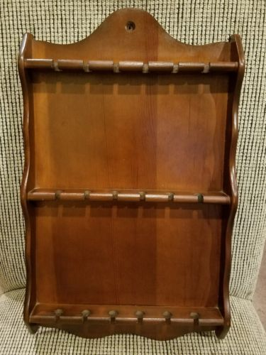 VTG. Wood Spoon Display Rack Holder~18 Spoons Spaces~Great Shape~Dark Wood