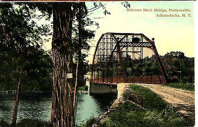 Old post card postcard schroon neck bridge pottersville ny steel river