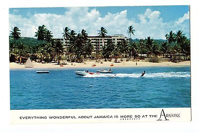 Old post card postcard Jamaica waterskiing hotel beach arawak
