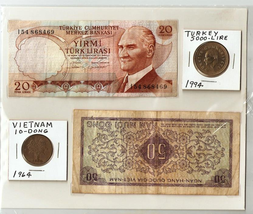 I have 2 banknotes and 2 coins from Turkey and Vietnam.,