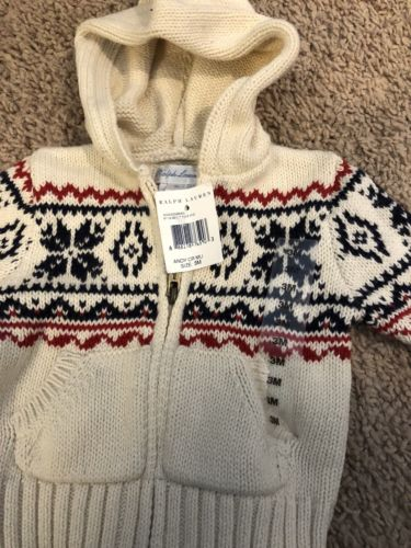 RALPH LAUREN Infant Knit Zip Up Sweater Sz 3M Hooded Nordic 3 Months Polo NWT