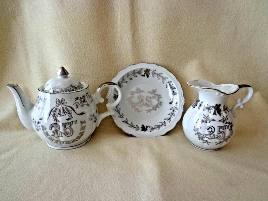 LEFTON CHINA TEAPOT SET WITH CREAMER & PLATE