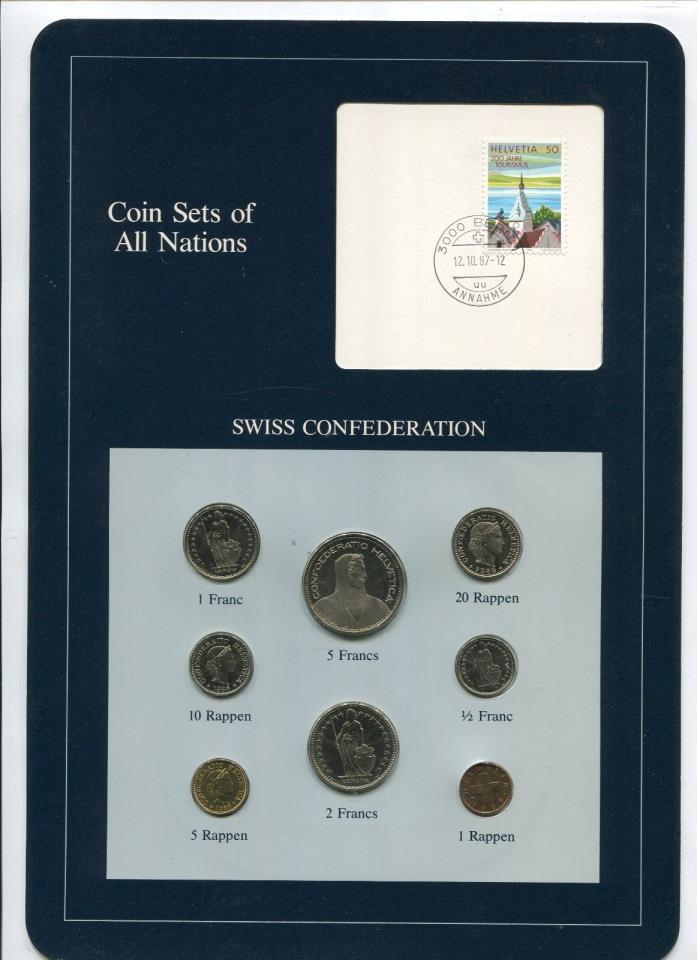 Switzerland 8 Coins Coin Sets of All Nations Original Cache w/Info Card #2