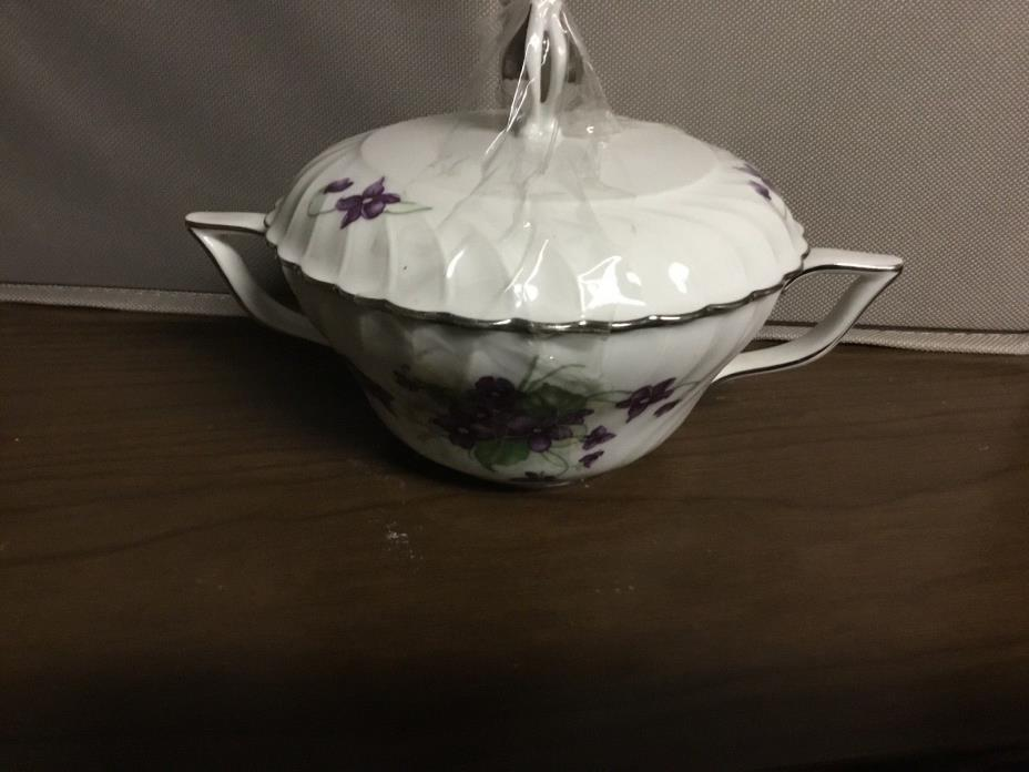 Flower Floral Sugar Bowl with Lid and Handles