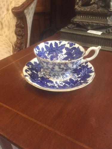 Vintage Antique Coalport Blue English Cup And Saucer Bridal Shower