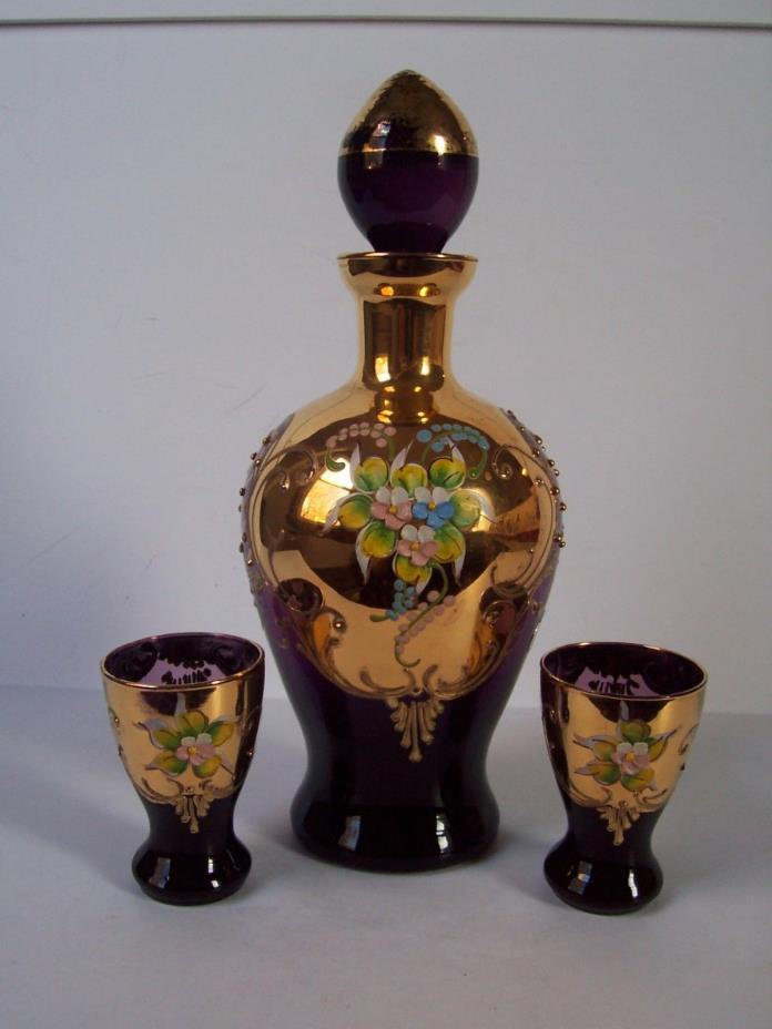 Purple Floral Art Glass Liquor Decanter Glass Set Hand Painted Heavy Gold Italy