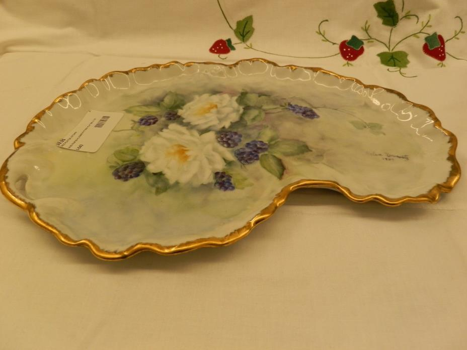 BEAUTIFUL FLORAL HAND PAINTED PLATTER