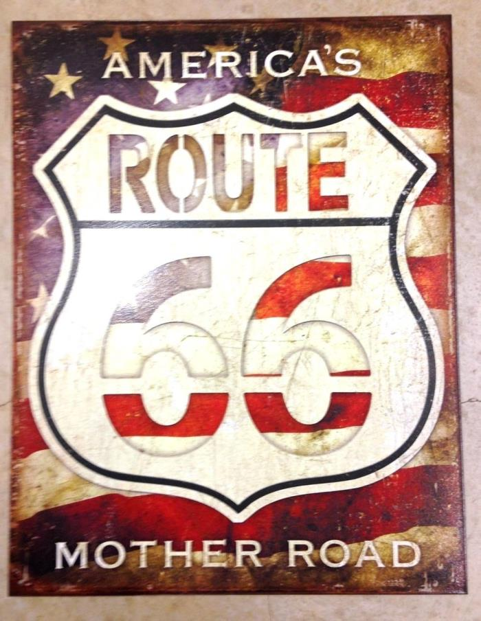 Americas Route 66 Mother Road Sign Metal New 12 1/2x16 inches